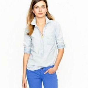 J. Crew Chambray Denim Henley Button up Shirt